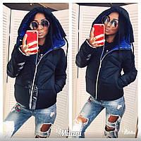 Куртка женская красивая двухцветная 2584 зима (синяя)