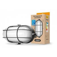 LED светильник Videx (ЖКХ) овальный 12W 5000K 220V черный, усиленный