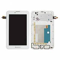 Дисплей (экран) для Lenovo A3000 IdeaTab + с сенсором (тачскрином) и рамкой белый Оригинал