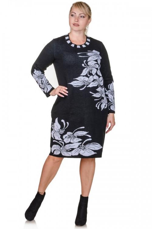 Вязаное платье Орхидеи  р 48,50,52,54,56,58