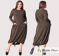Трикотажное женское платье с карманами, батал, фото 1