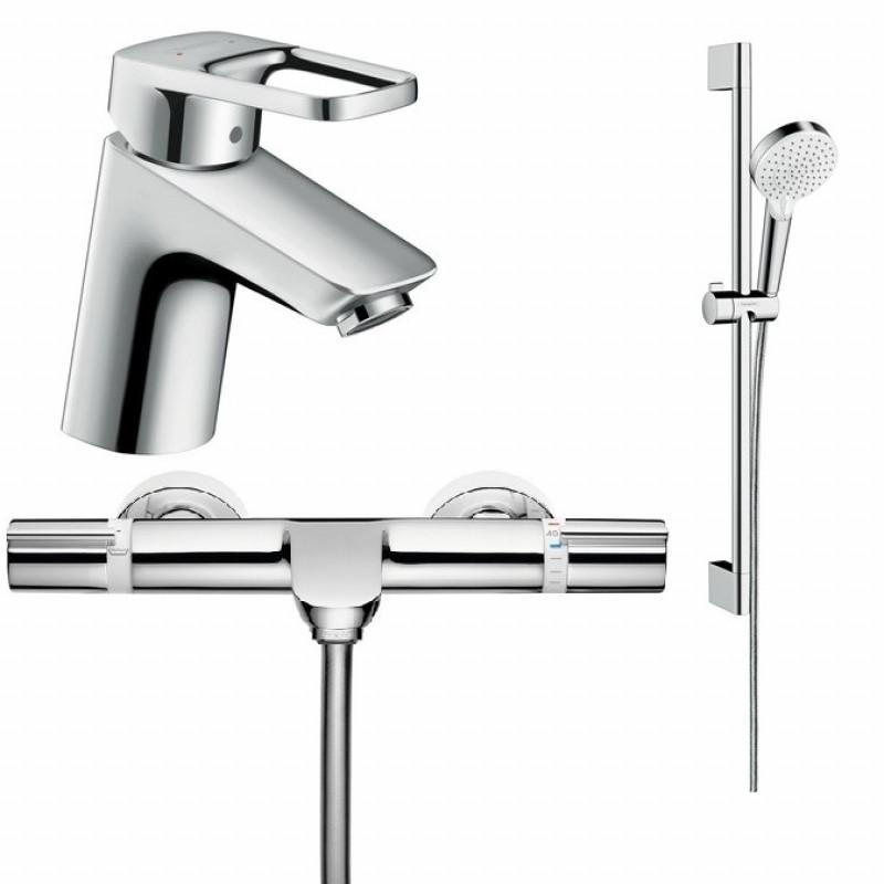 Комплект смесителей для ванны с термостатом  Hansgrohe Logis Loop (71150000+15348000+27353400)