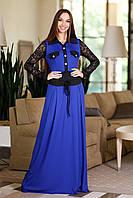 Женское трикотажное платье в пол с гипюром, фото 1