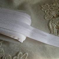 Бейка резинка 2,5 см  біла блискуча
