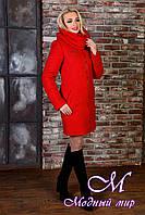 Красное зимнее пальто с хомутом (р. S, М, L) арт. Сан-Ремо лайт букле хомут зима 8303