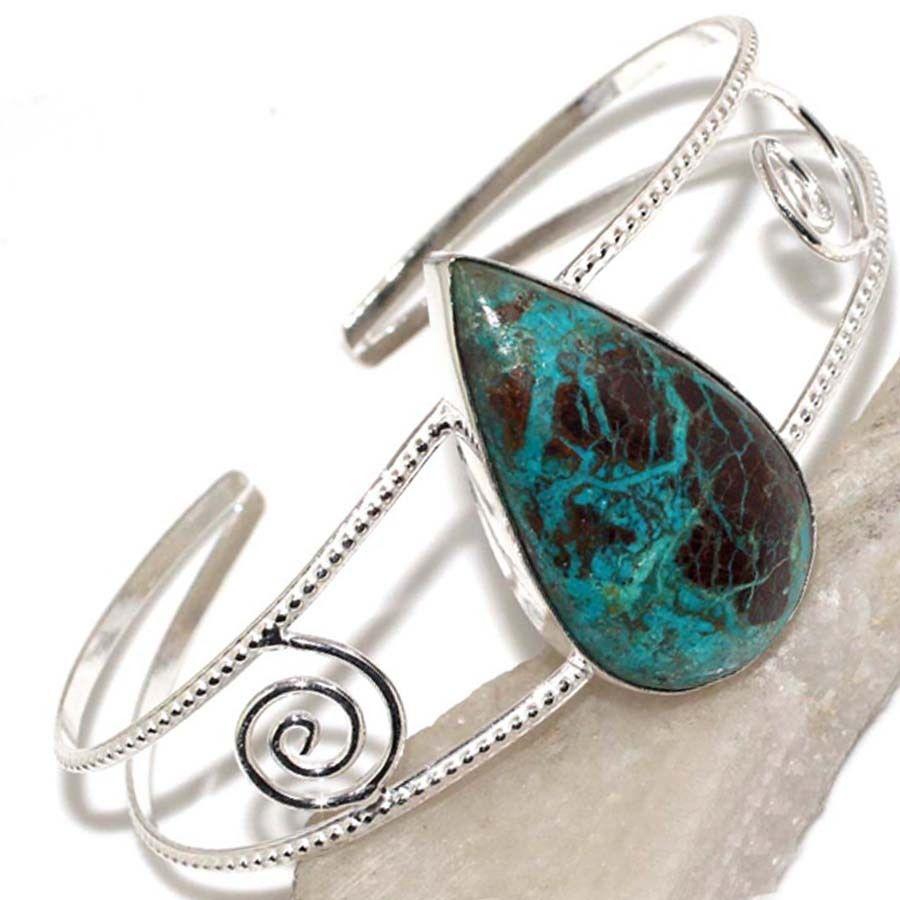 Браслет з хризоколлой. Шикарний браслет з каменем хризоколла, азурит в сріблі.