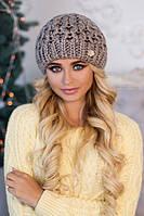Зимняя женская шапка «Эустома» Темный кофе