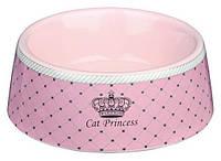 """Миска для кошки Trixie керамическая """"Cat  Princess"""" розовая 0,18л/12см"""