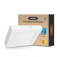 LED светильник Videx накладной квадрат 12W 5000K 220V