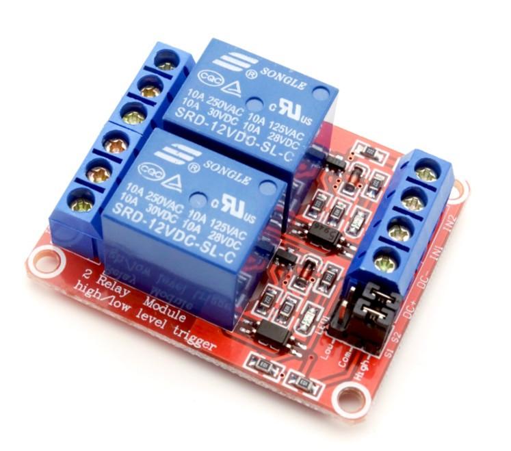 2-х канальний модуль реле з тригером на оптопаре 12В
