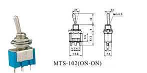 Тумблер MTS-102  6A 125V/3A 250V