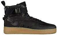 Мужские кроссовки Nike SF Air Force 1 Mid Black/Gum Light Brown (Найк Аир Форс высокие) черные
