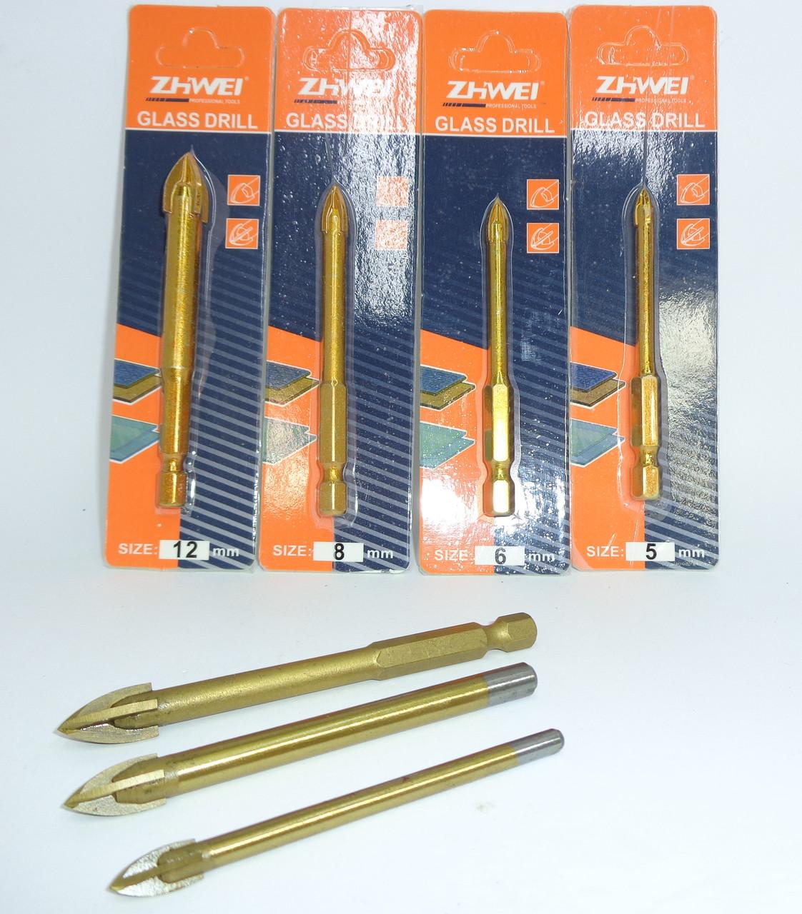Сверла по стеклу, керамике и мрамору 12 мм с 4 режущими кромками Zhwei