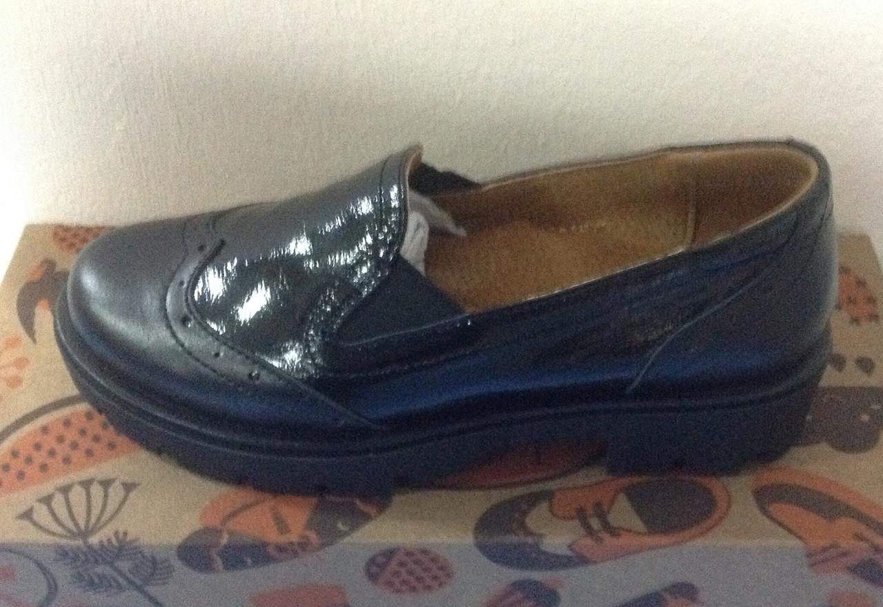 Туфли черные для девочки из натуральной кожи, комбинированные