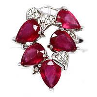 Серебряное кольцо 925 пробы с натуральным рубином Размеры 17 и 17,3