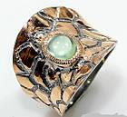 Кольцо ручной работы из серебра 925 пробы с натуральным пренитом Размер 17,3