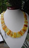"""Массивное колье """"Золото скифов"""" с натуральным медовым янтарем."""