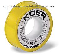 Фум лента KOER жёлтая для газа 19 мм*0,2 мм*20 м
