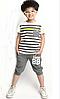 Классные летние полосатые серые костюмы для мальчика, фото 2