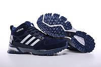Кроссовки мужские Adidas Neo Winter Blue С МЕХОМ (адидас) синие