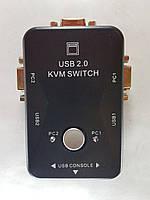 2-портовый KVM свич переключатель компов USB + VGA KVM switch 2 port (VGA, USB) MT-201UK переключатель на 2 US