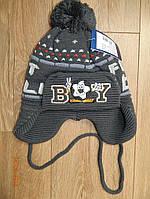 Зимняя шапочка для мальчика обьем 50-54 см