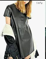 Платье-трапеция из экокожи