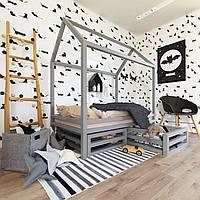 Одноуровневая кроватка-домик с ящиками
