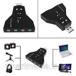 USB Звукова карта PD560 7.1 Channel ноутбук/комп два канали (роздвоєна аудіо - мікрофон - виходи)