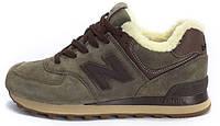 Мужские зимние кроссовки New Balance ML574TA Winter Wool Brown (Нью Баланс) с мехом коричневые
