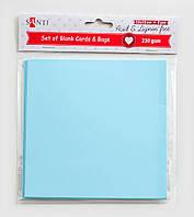 Набор голубых заготовок для открыток, 15см*15см, 230г/м2, 5шт.