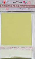 Набор оливковых перламутровых заготовок для открыток, 10см*15см, 250г/м2, 5шт.