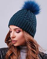 Женская вязаная шапка с натуральным меховым бубоном(301 mrs)