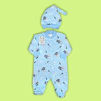 Человечек для новорожденного с шапочкой байка,футер  (68/74 см)