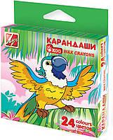 Карандаши цветные восковые шестигранные 24 цвета Зоо Мини 8*90 мм. 12C866-08 290110 Луч