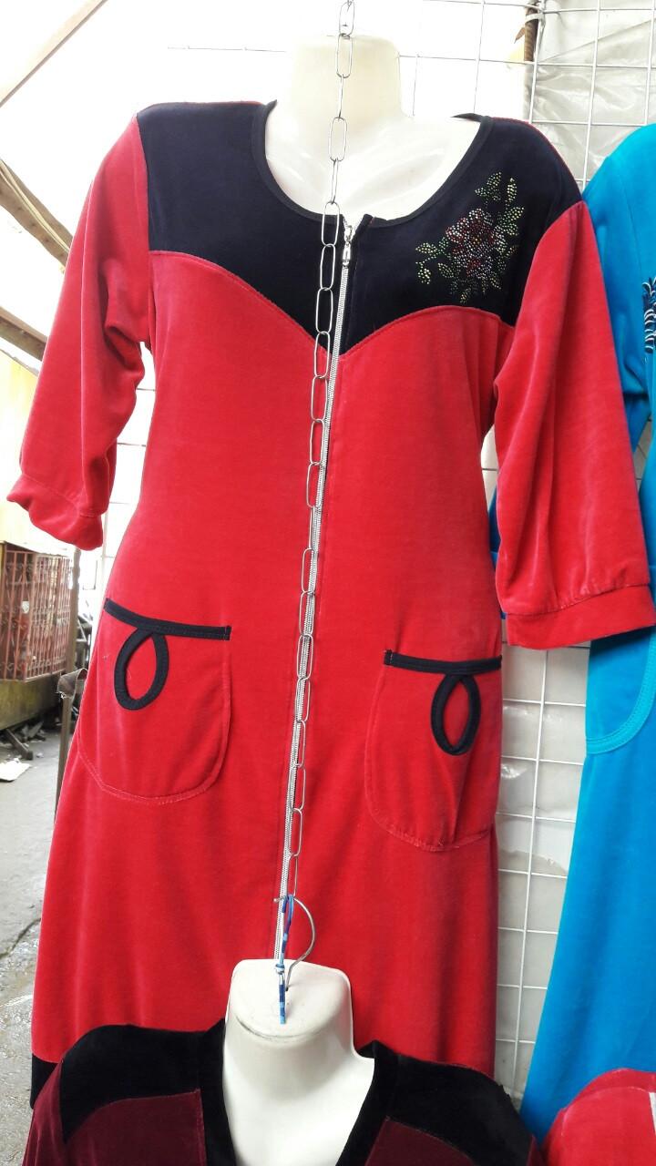 Велюровый женский халат Код ХВ-160