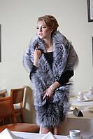 Меховая накидка палантин из финской чернобурки (перфорация)  Finn silver fox fur cape pelerine, фото 1