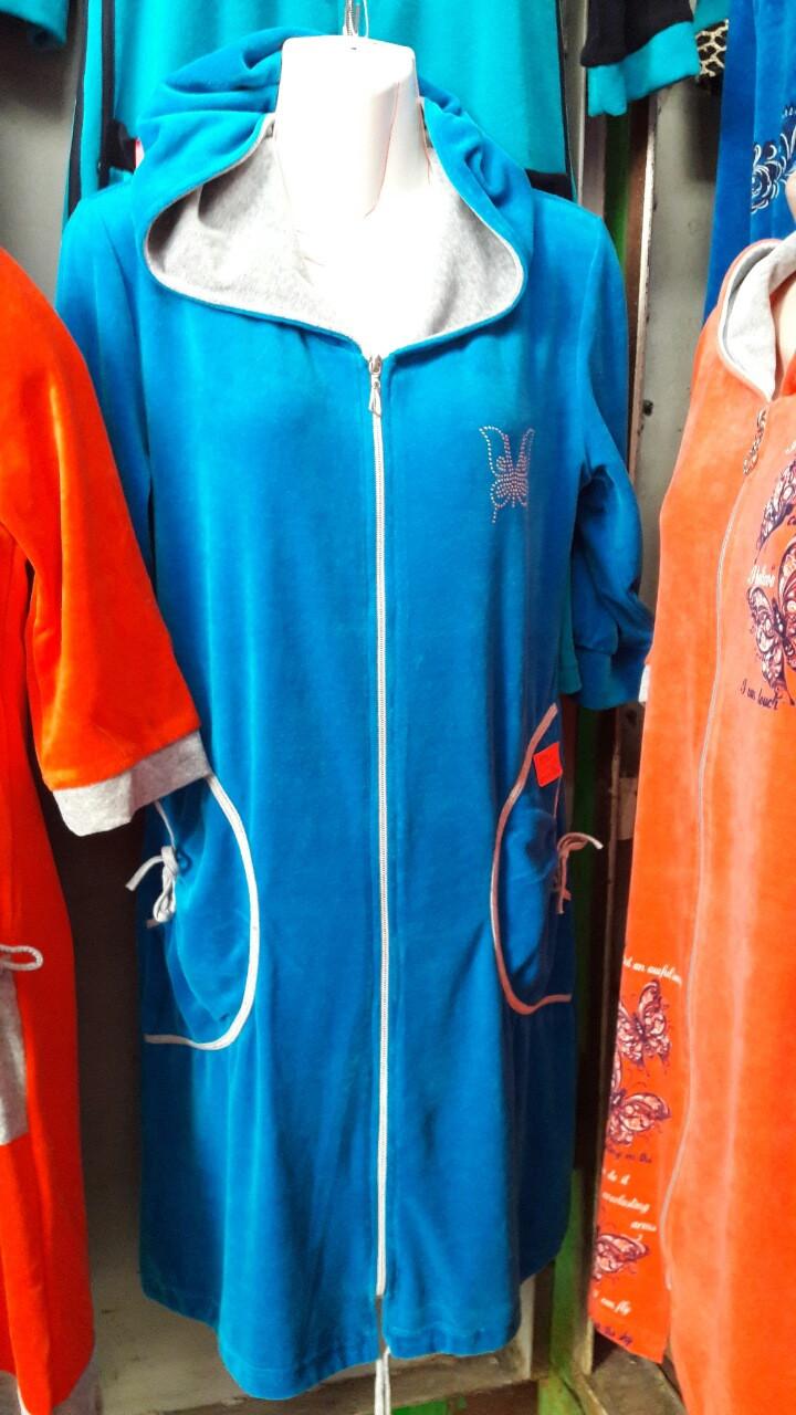 Велюровый женский халат Код ХВ-164