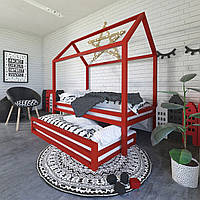 Одноуровневая кровать-домик с дополнительным спальным местом