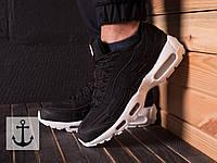 Мужские кроссовки Nike Air Max 95 x Stussy (Найк Аир Макс Стасси) черно-белые