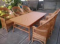 Набор плетеной мебели из лозы с большим столом, фото 1