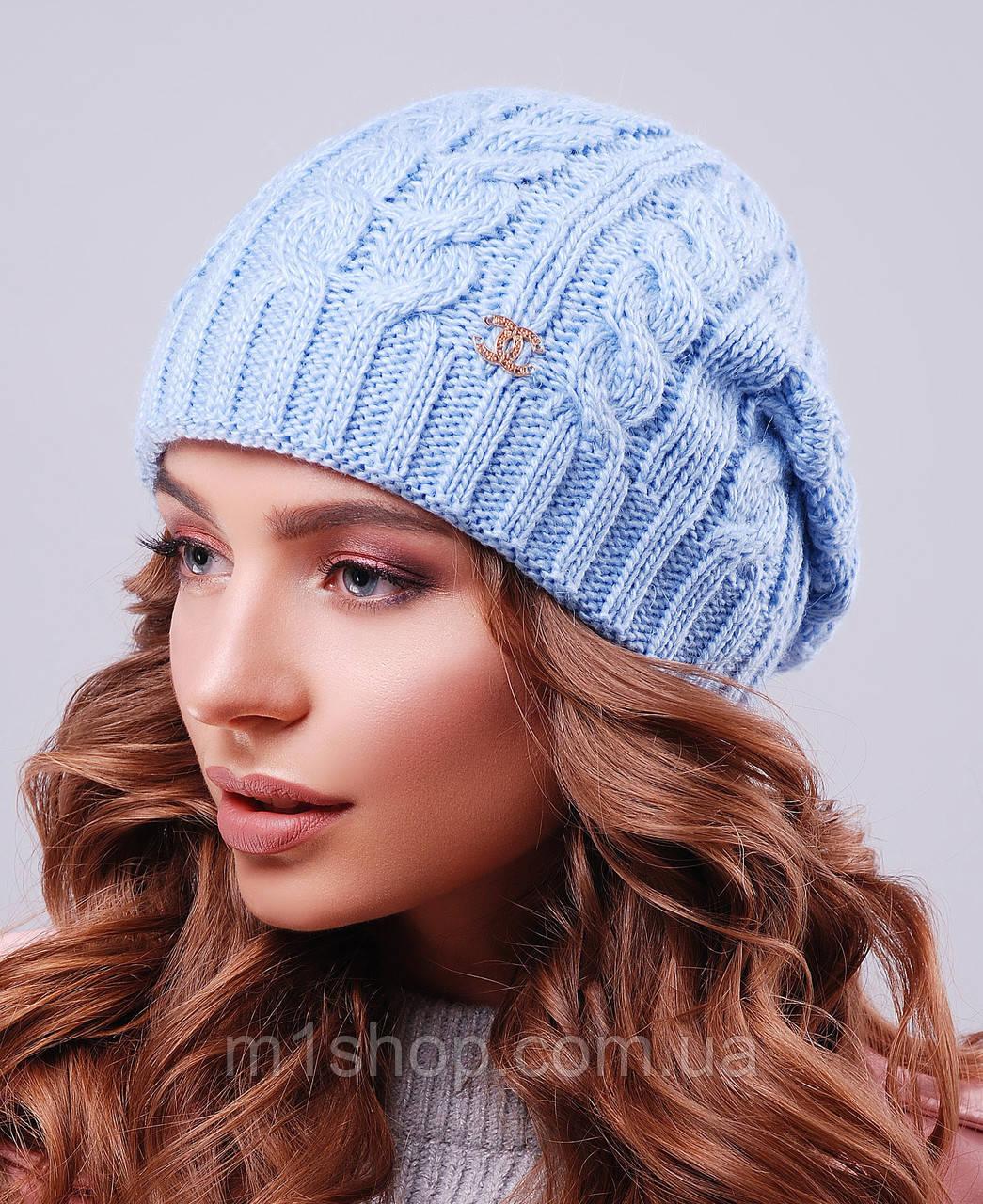Женская зимняя вязаная шапка с напуском (304 mrs)