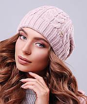 Женская зимняя вязаная шапка с напуском (304 mrs), фото 3