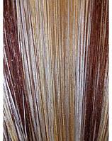 Шторы-нити радуга коричневый с белым
