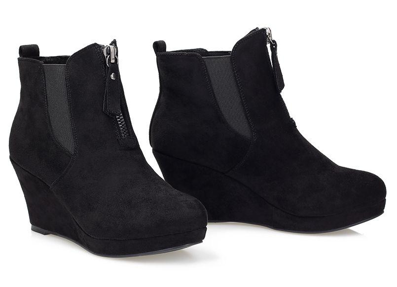 Черные женские ботинки (ботильоны) на танкетке из эко-замши Madlen - Shoester - обувь,сумки и аксессуары из Польши. Прямой поставщик в Львове