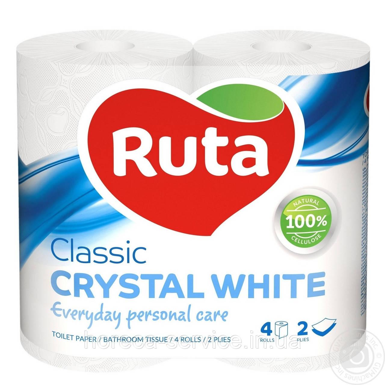 Туалетная бумага RUTA Classic CRYSTAL WHITE 2х слойная 4 шт.