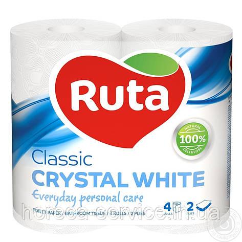 Туалетная бумага RUTA Classic CRYSTAL WHITE 2х слойная 4 шт., фото 2