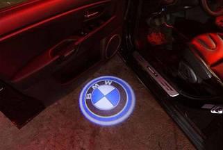 Проекторная led подсветка в двери BMW