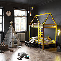Двухуровневая кровать-домик с ящиками