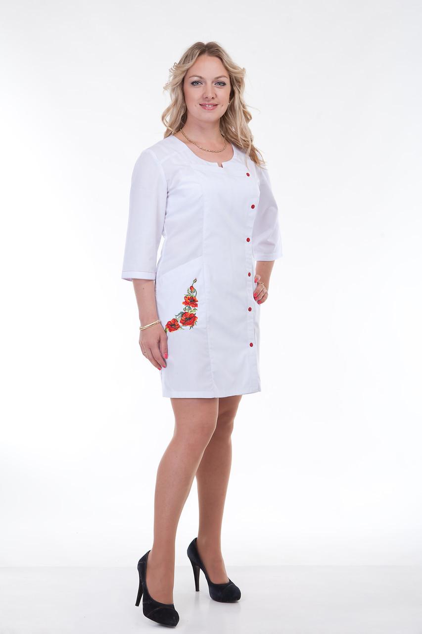 Коттоновый халат с вышивкой на карманах размер: 40-56